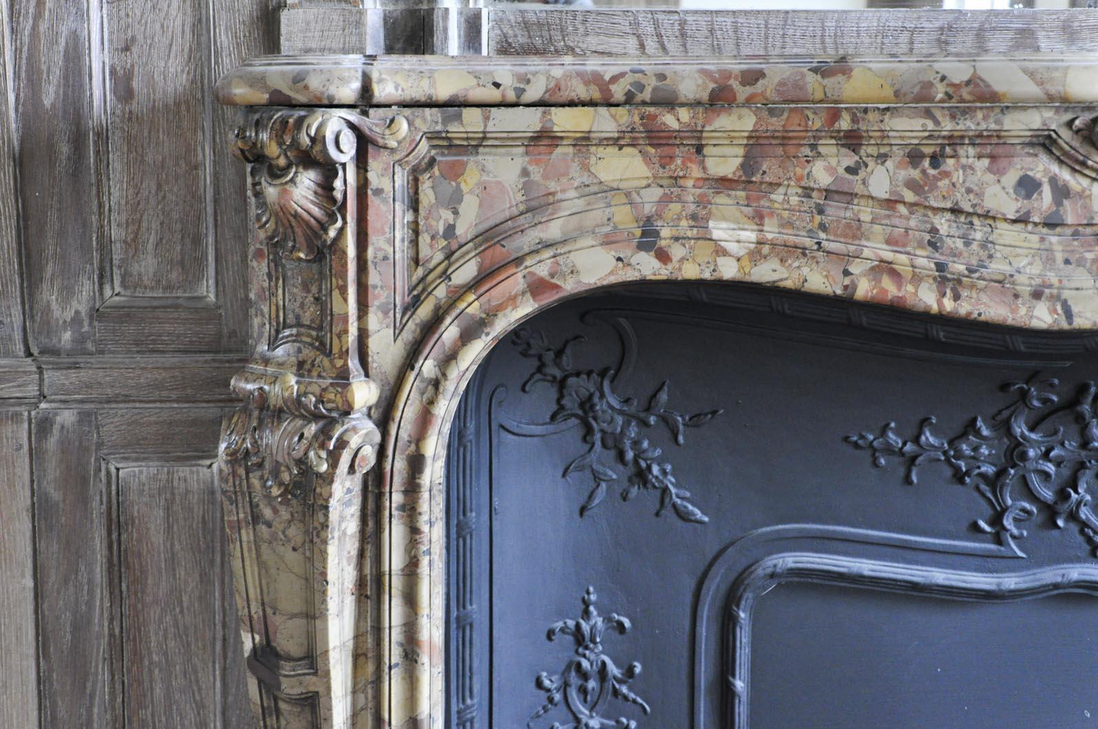 beautiful antique louis xv period fireplace in breche d u0027alep