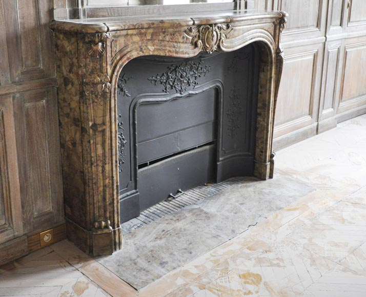 Beautiful antique Louis XV period fireplace in Breche d'Alep marble decorated with a cartouche and a cast iron insert-3