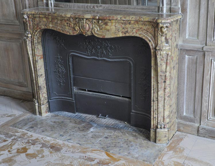 Beautiful antique Louis XV period fireplace in Breche d'Alep marble decorated with a cartouche and a cast iron insert-6