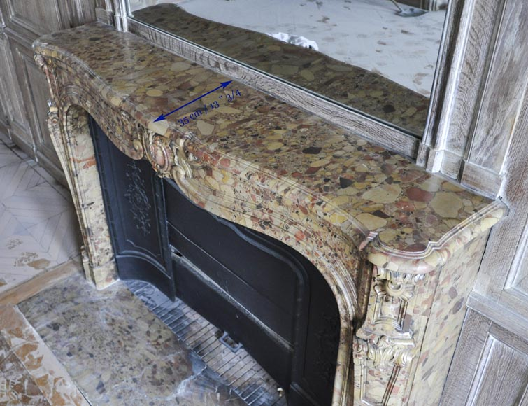 Beautiful antique Louis XV period fireplace in Breche d'Alep marble decorated with a cartouche and a cast iron insert-13