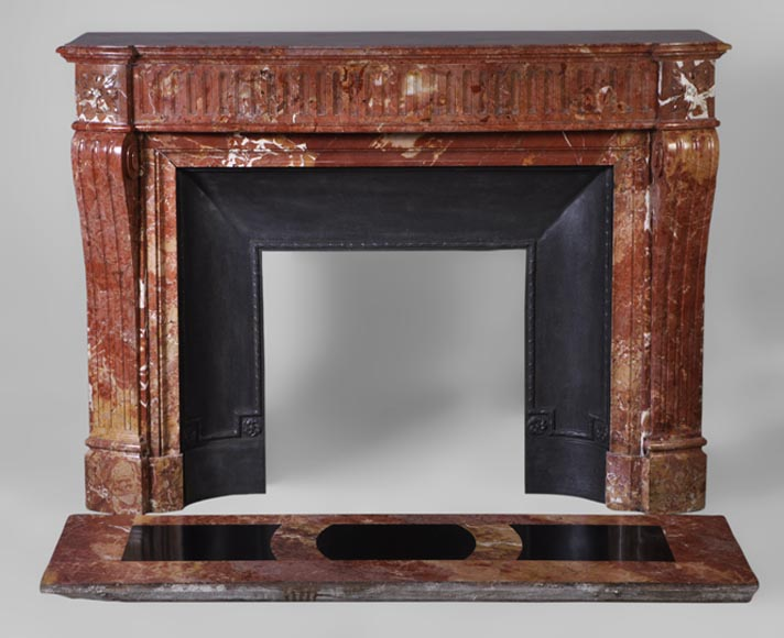 Beautiful antique Louis XVI style curved fireplace made in Breche from Saint-Maximin - Reference 2988