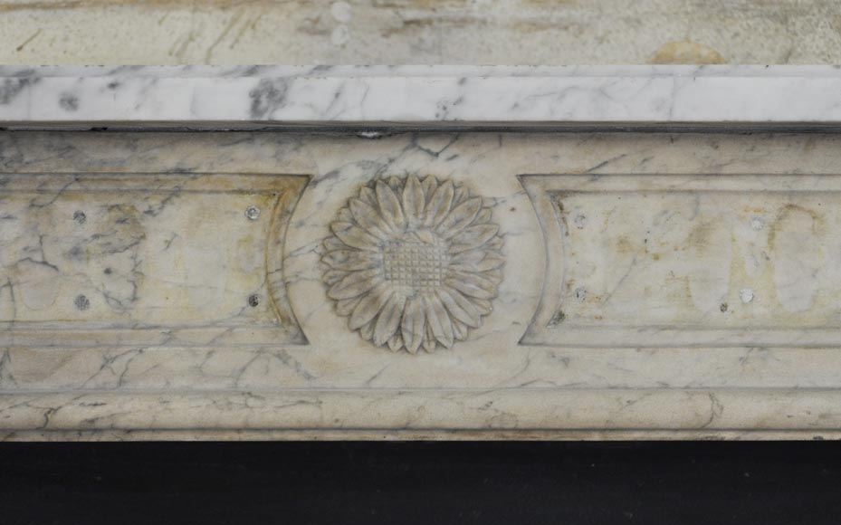 Antique Louis XVI period Fireplace in Carrara marble ornamented with flowers-1