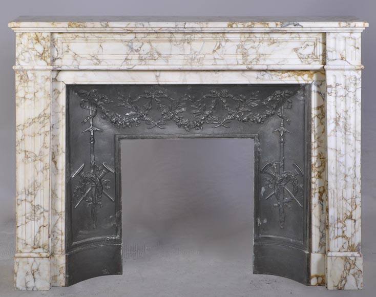 Antique Louis XVI style fireplace in veined marble with moldings-0