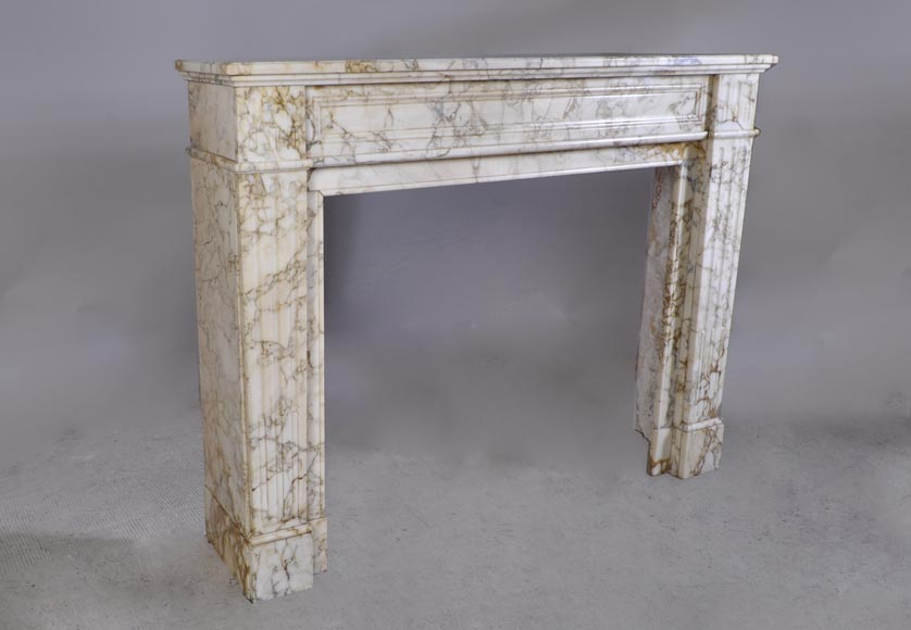 Antique Louis XVI style fireplace in veined marble with moldings-2