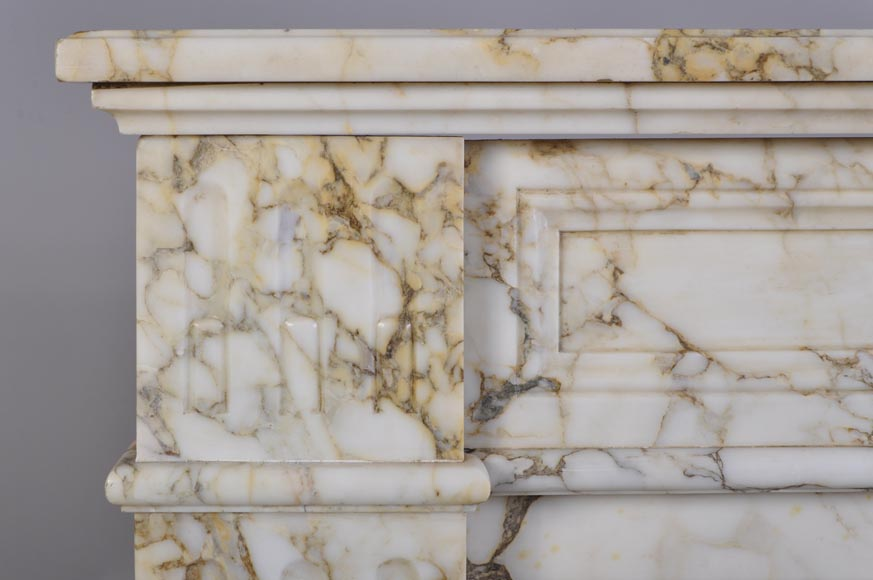 Antique Louis XVI style fireplace in veined marble with moldings-3