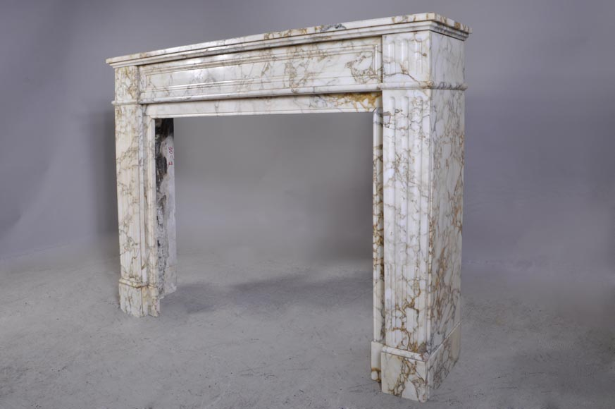 Antique Louis XVI style fireplace in veined marble with moldings-5