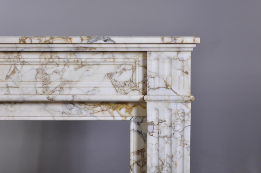 Antique Louis XVI style fireplace in veined marble with moldings-6