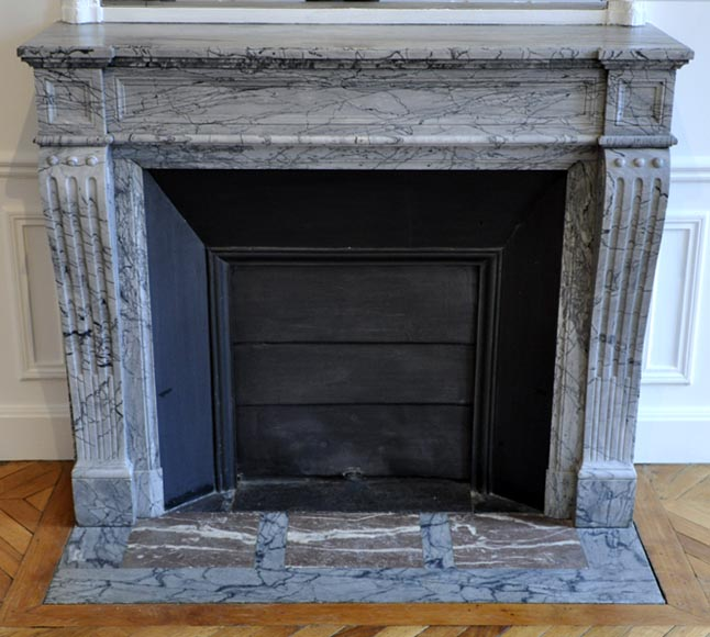 Antique Louis XVI style fireplace in Blue Fleuri marble - Reference 3006