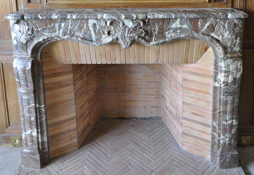 Regence period fireplace made in Rouge Royal marble carved with a shell-0