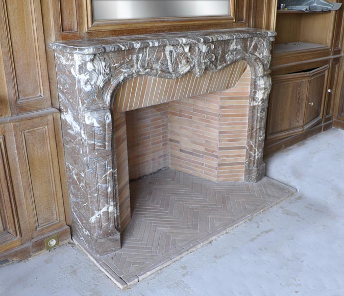 Regence period fireplace made in Rouge Royal marble carved with a shell-1