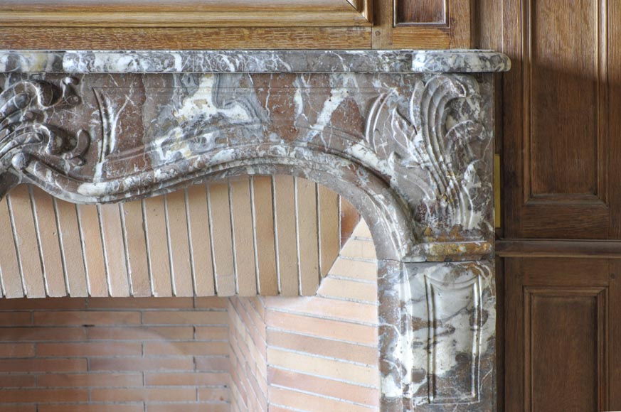 Regence period fireplace made in Rouge Royal marble carved with a shell-5