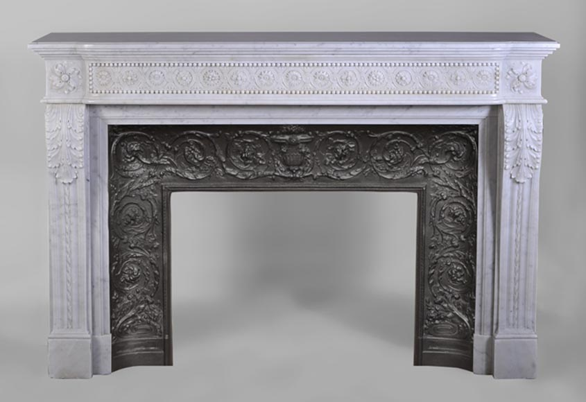 Very beautiful antique Louis XVI style fireplace with flowers medallions in Carrara marble - Reference 3014