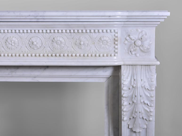 very beautiful antique louis xvi style fireplace with flowers medallions in carrara marble marble. Black Bedroom Furniture Sets. Home Design Ideas