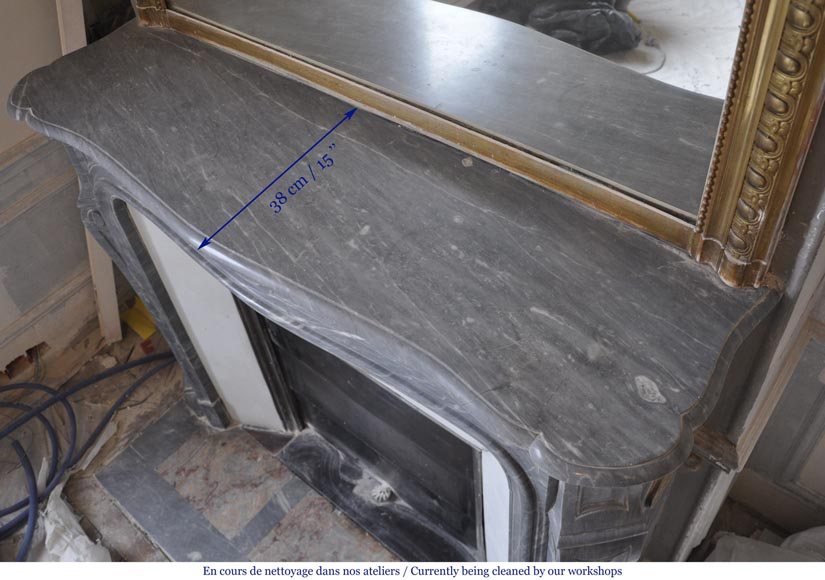 Antique curved Louis XV mantel in blue Turquin marble - Pompadour model -8