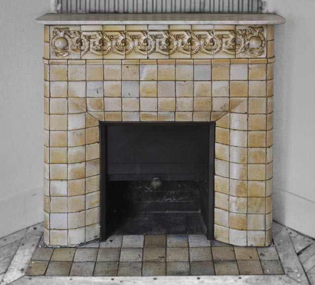 Antique Art Nouveau fireplace ornated with glazed stoneware tiles-0