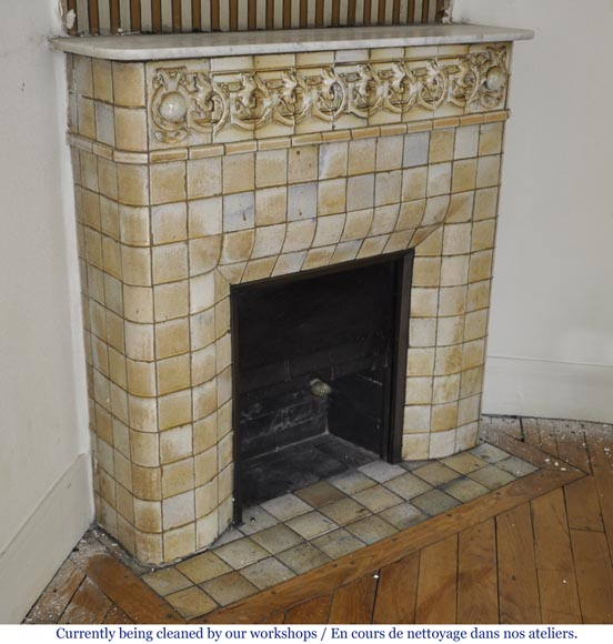 Antique Art Nouveau fireplace ornated with glazed stoneware tiles-2
