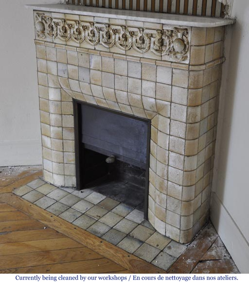 Antique Art Nouveau fireplace ornated with glazed stoneware tiles-4
