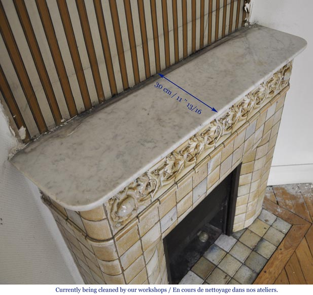 Antique Art Nouveau fireplace ornated with glazed stoneware tiles-8