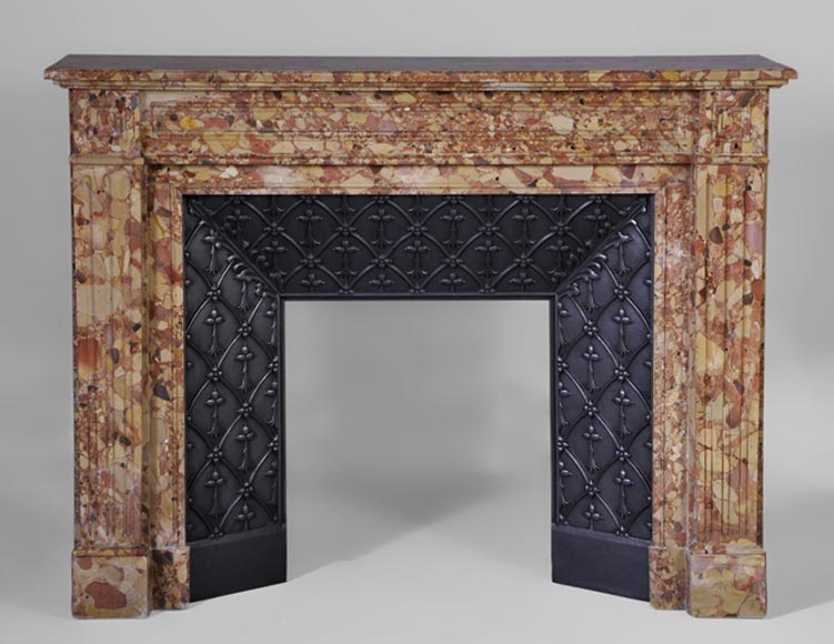 Antique Louis XVI style mantel in Breche d'Alep marble with its cast iron insert - Reference 3029