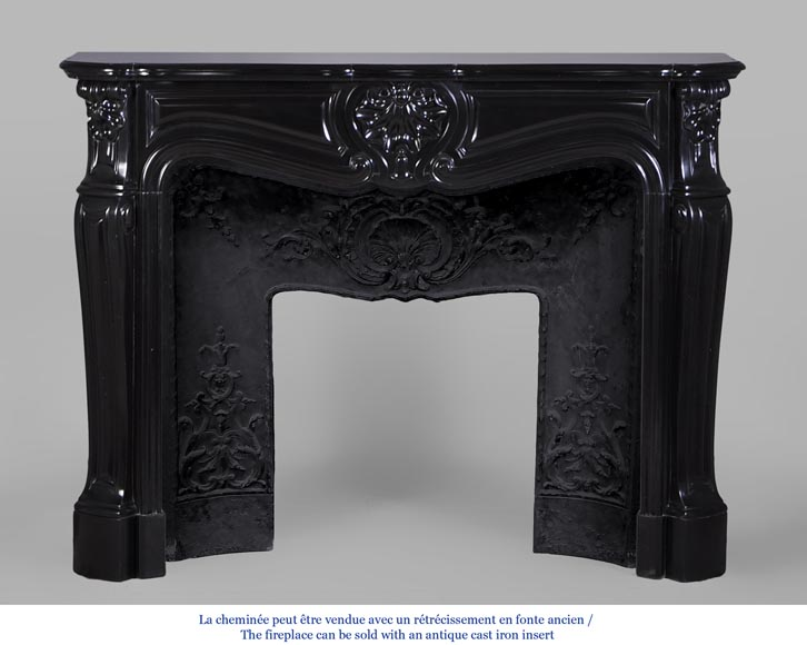 Antique Louis Xv Style Fireplace In Black From Belgium