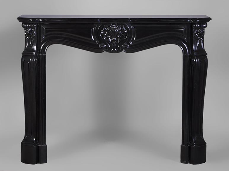 Antique Louis XV style fireplace in Black from Belgium marble - Reference 3030