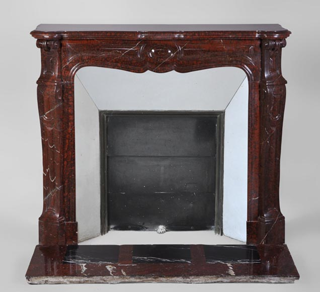 Pompadour antique Fireplace in Red Griotte marble, 19th century - Reference 3040