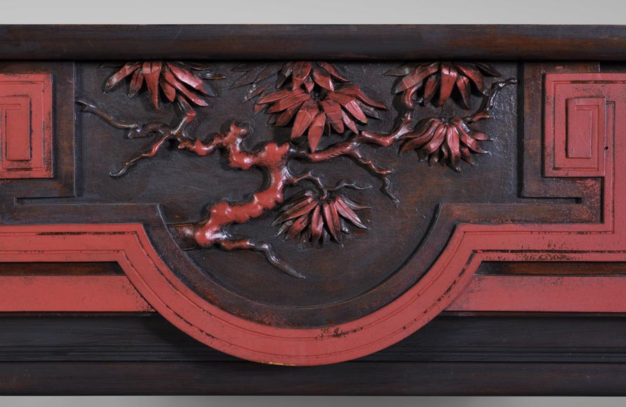 Antique Japanese style wood fireplace with bamboo foliages decor-1