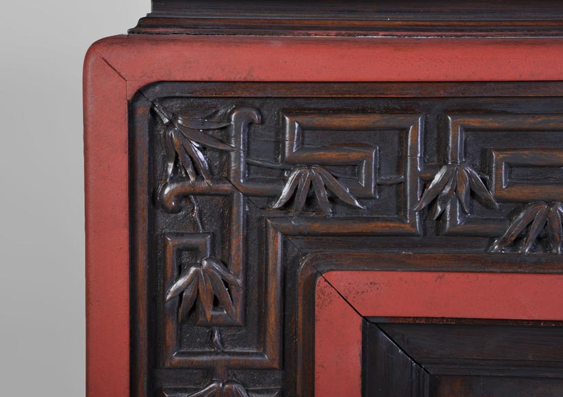 Antique Japanese style wood fireplace with bamboo foliages decor-3