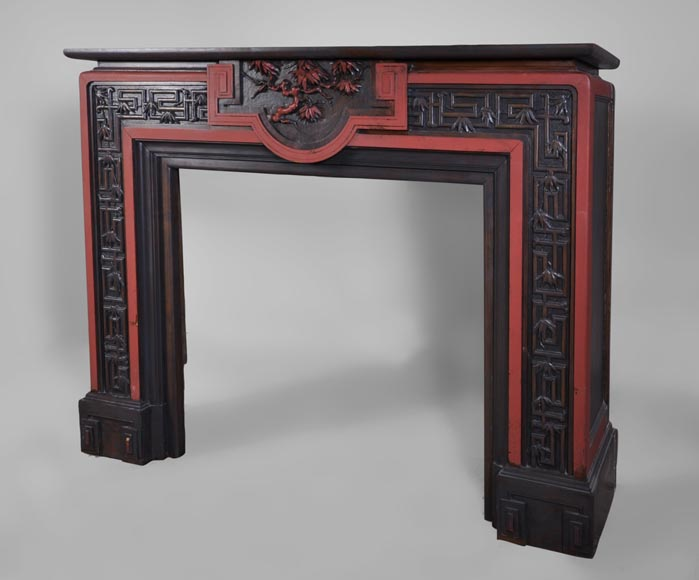 Antique Japanese style wood fireplace with bamboo foliages decor-6