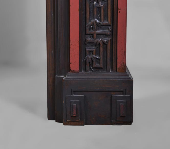 Antique Japanese style wood fireplace with bamboo foliages decor-8