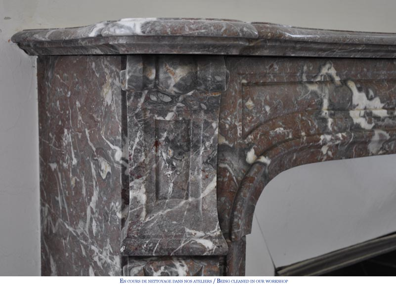 Antique Louis XV style fireplace in Red from the North marble, 19th century-3