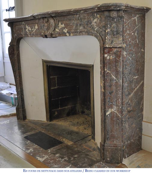 Antique Louis XV style fireplace in Red from the North marble, 19th century-5