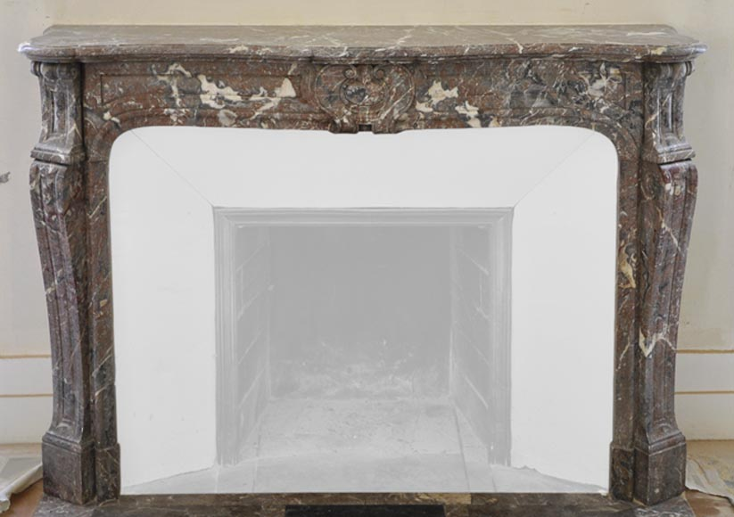 Antique Louis XV style fireplace in Red from the North marble, 19th century - Reference 3052