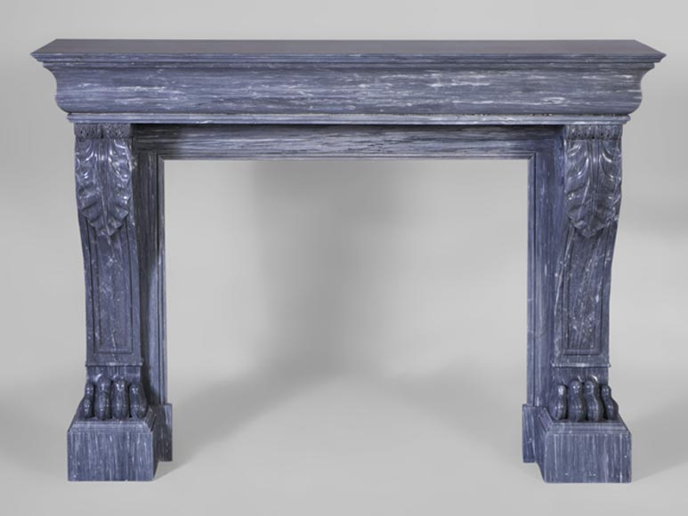 Beautiful antique Restoration style fireplace with lion's paws in Blue Turquin marble-0