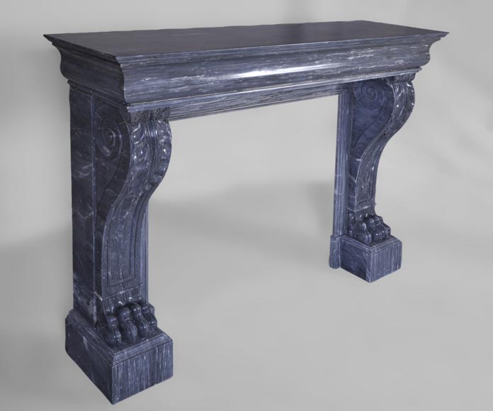 Beautiful antique Restoration style fireplace with lion's paws in Blue Turquin marble-2