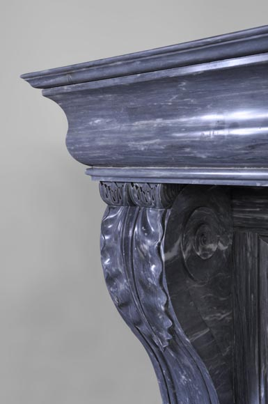 Beautiful antique Restoration style fireplace with lion's paws in Blue Turquin marble-3