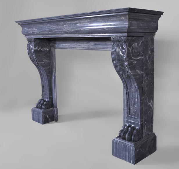 Beautiful antique Restoration style fireplace with lion's paws in Blue Turquin marble-5