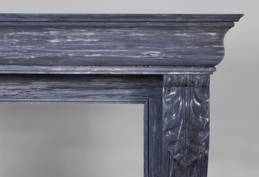 Beautiful antique Restoration style fireplace with lion's paws in Blue Turquin marble-6