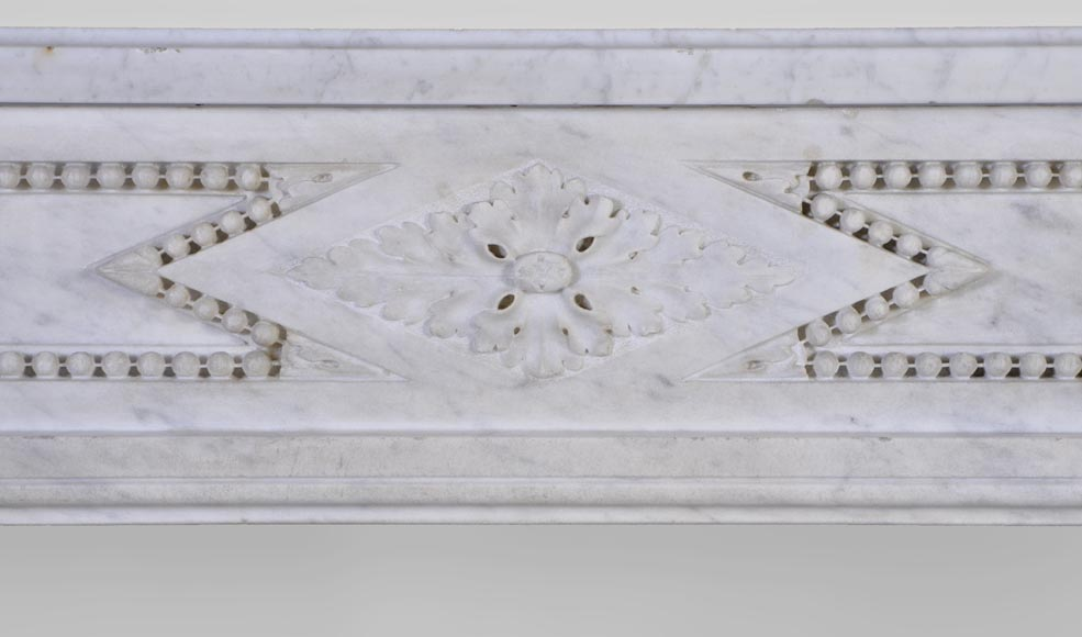 Large antique Louis XVI period fireplace in veined Carrara marble, pearls decor-1