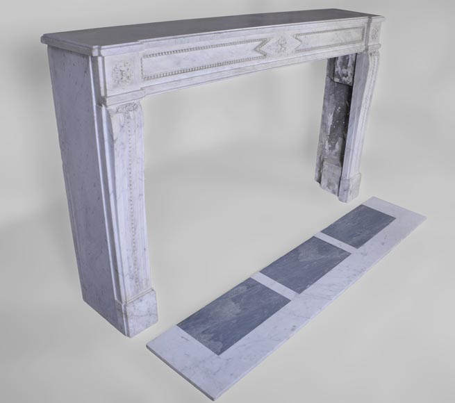 Large antique Louis XVI period fireplace in veined Carrara marble, pearls decor-3