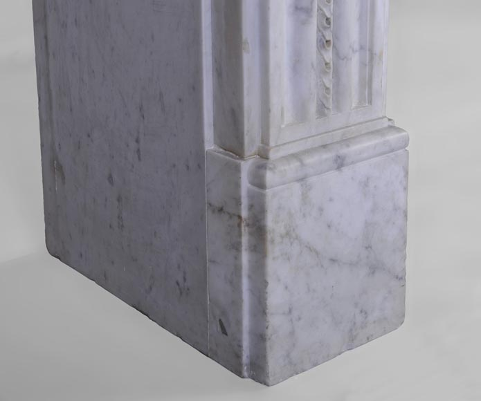 Large antique Louis XVI period fireplace in veined Carrara marble, pearls decor-6