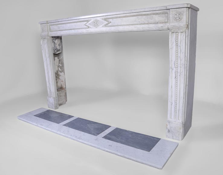 Large antique Louis XVI period fireplace in veined Carrara marble, pearls decor-7