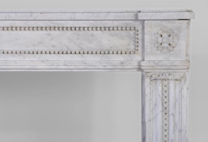 Large antique Louis XVI period fireplace in veined Carrara marble, pearls decor-8