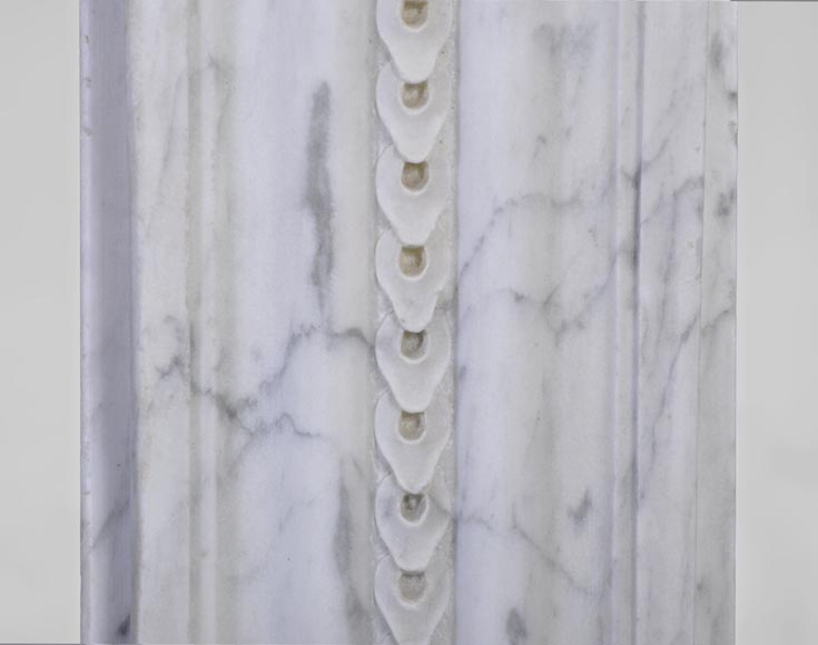 Large antique Louis XVI period fireplace in veined Carrara marble, pearls decor-10