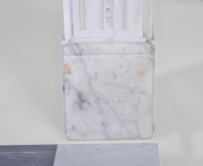 Large antique Louis XVI period fireplace in veined Carrara marble, pearls decor-11