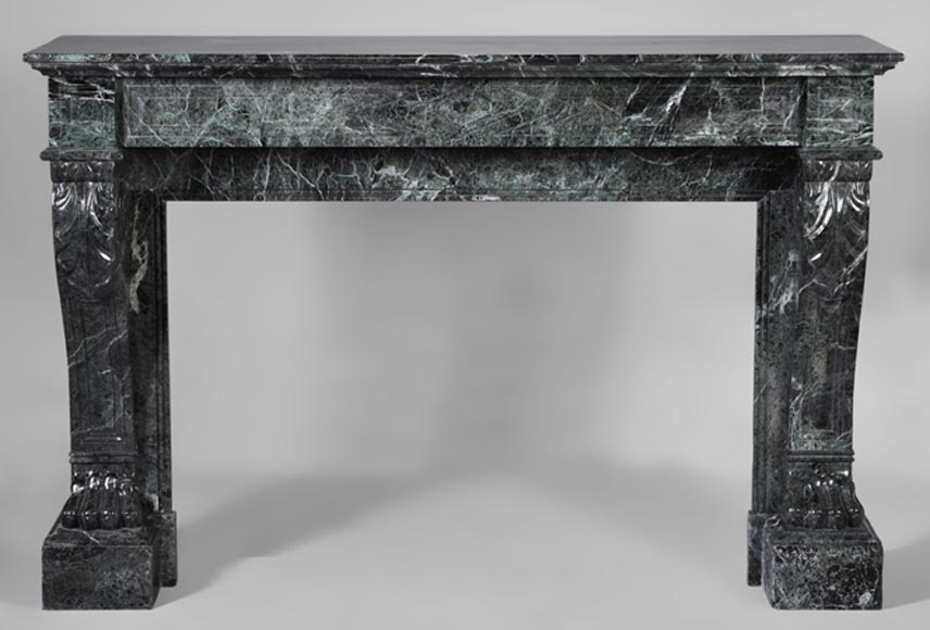 Antique Napoleon III style fireplace with lion's paws decor in Sea Green marble - Reference 3060