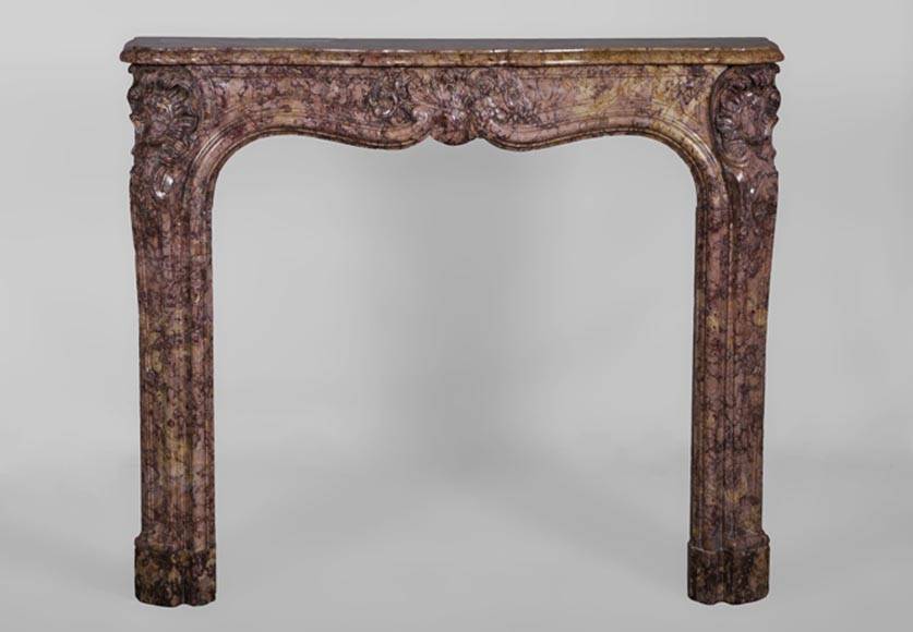 Beautiful small antique Louis XV period fireplace in Pink Brocatelle marble, 18th century - Reference 3065