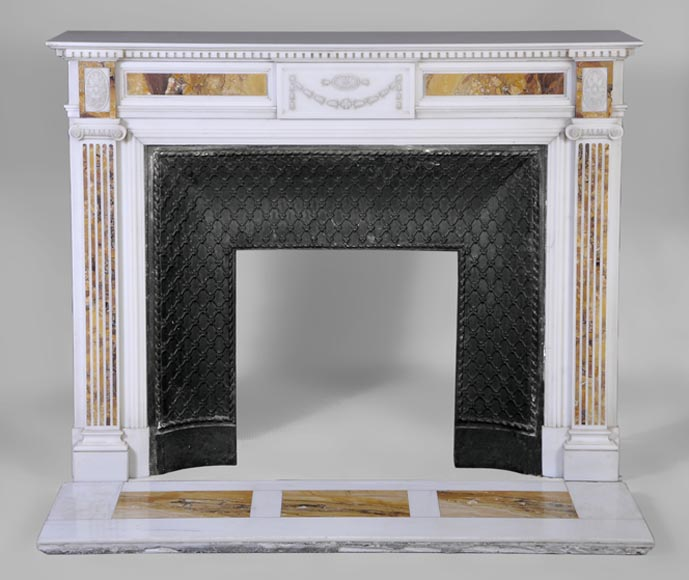 Beautiful antique Neo-Classical fireplace in Statuary Carrara marble and yellow Brocatelle from Sienna inlays-0