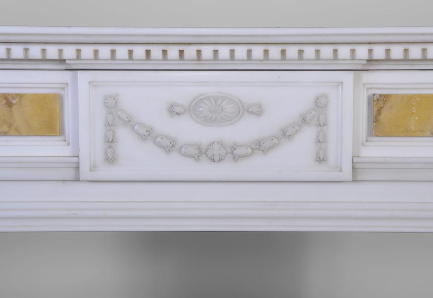 Beautiful antique Neo-Classical fireplace in Statuary Carrara marble and yellow Brocatelle from Sienna inlays-1