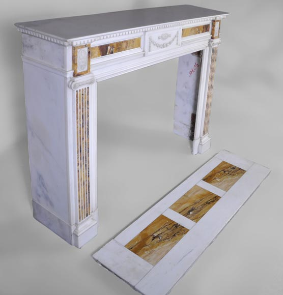 Beautiful antique Neo-Classical fireplace in Statuary Carrara marble and yellow Brocatelle from Sienna inlays-2